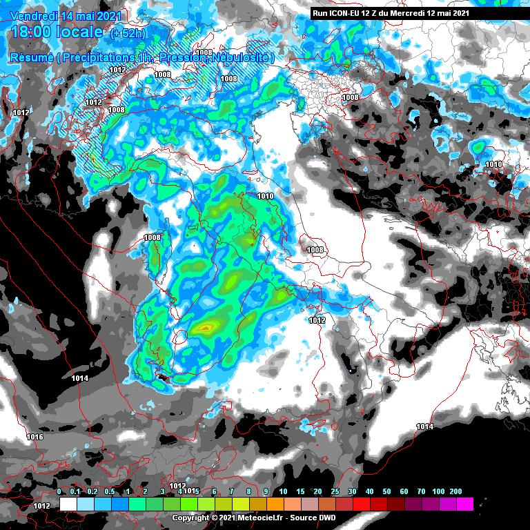 Riassunto Precipitazioni e Nuvolosità 14 Maggio 2021 Italia